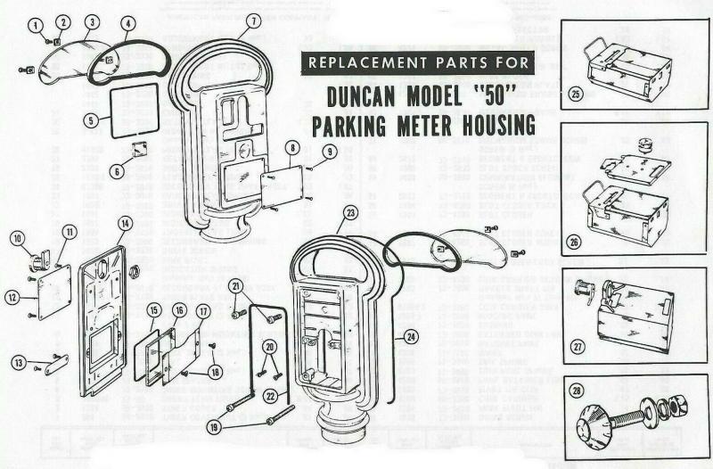 Duncan Parking Meter Model 60 and Model 50 Mechanical Mechanism Service Manuals.